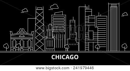 Chicago City Silhouette Skyline. Usa - Chicago City Vector City, American Linear Architecture, Build