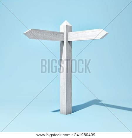 Empty wooden signpost with two arrows. 3D illustration.