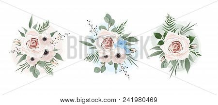 Vector Floral Set. Colorful Purple Floral Collection With Leaves And Flowers. Set Of Floral Elements