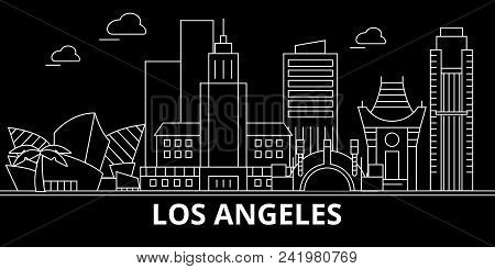 Los Angeles City Silhouette Skyline. Usa - Los Angeles City Vector City, American Linear Architectur