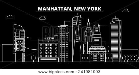 Manhattan Silhouette Skyline. Usa - Manhattan Vector City, American Linear Architecture, Buildings.