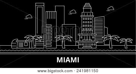 Miami City Silhouette Skyline. Usa - Miami City Vector City, American Linear Architecture, Buildings