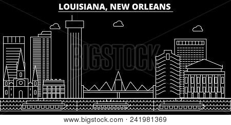 New Orleans Silhouette Skyline. Usa - New Orleans Vector City, American Linear Architecture, Buildin