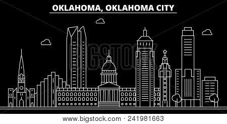 Oklahoma City Silhouette Skyline. Usa - Oklahoma City Vector City, American Linear Architecture, Bui