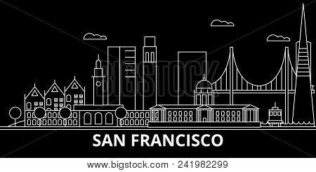 San Francisco City Silhouette Skyline. Usa - San Francisco City Vector City, American Linear Archite