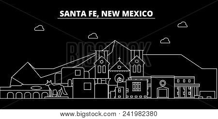 Santa Fe Silhouette Skyline. Usa - Santa Fe Vector City, American Linear Architecture, Buildings. Sa