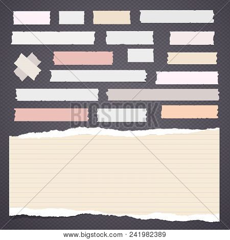 Adhesive, Sticky Tape With Note Notepaper On Gray Background. Vector Illustration
