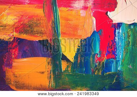 Bright Smears Of Oil Paint On Canvas, Working Palette Of An Artist, Abstract Background From Chaotic