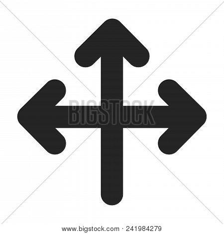 Three Way Direction Arrow Icon Simple Vector Sign And Modern Symbol. Three Way Direction Arrow Vecto