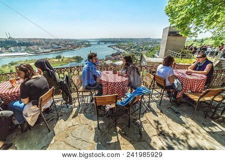 Istanbul, Turkey: People Are Sitting Pierre Loti Restaurant Situated In The Middle Of Graveyard In I