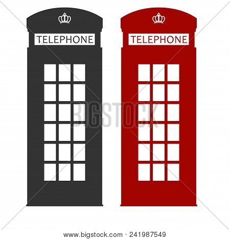 Phone Booth, London Red Cabin, English Telephone Street Box. Symbol Of The Uk. Vector