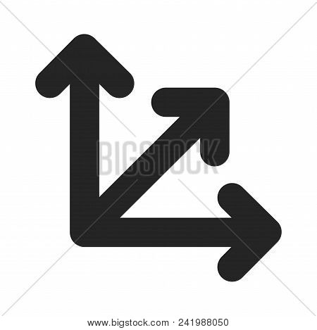 Three Way Direction Arrow Icon Simple Vector Sign And Modern Symbol. Three Way Direction Arrow Vecto