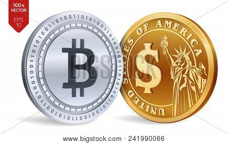 Bitcoin. Dollar Coin. 3d Isometric Physical Coins. Digital Currency. Cryptocurrency. Golden And Silv
