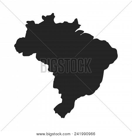 Brazil Map Icon Simple Vector Sign And Modern Symbol. Brazil Map Vector Icon Illustration, Editable