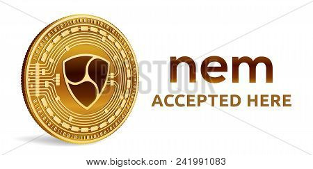 Nem. Accepted Sign Emblem. Crypto Currency. Golden Coin With Nem Symbol Isolated On White Background