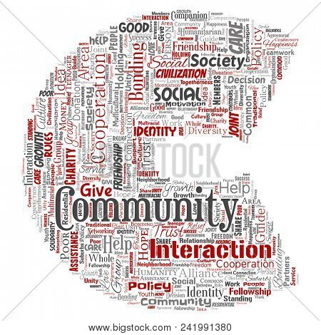 Conceptual community, social, connection letter font C red word cloud isolated background. Collage of group, teamwork, diversity, friendship, communication, inclusion, care, respect concept