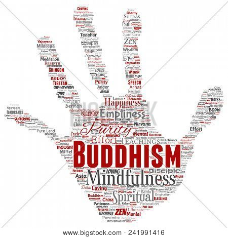 Conceptual buddhism, meditation, enlightenment, karma hand print stamp word cloud isolated background. Collage of mindfulness, reincarnation, nirvana, emptiness, bodhicitta, happiness concept