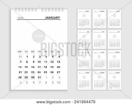 Wall Calendar 2019 Template For 2019 Year. Planner Vector Diary In A Minimalist Style. Corporate And