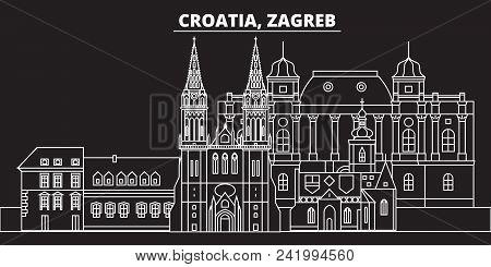 Zagreb Silhouette Skyline. Croatia - Zagreb Vector City, Croatian Linear Architecture, Buildings. Za