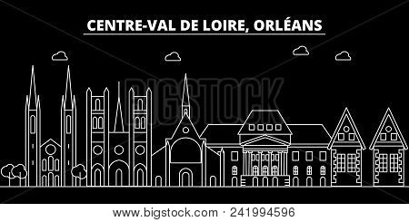 Orleans Silhouette Skyline. France - Orleans Vector City, French Linear Architecture, Buildings. Orl