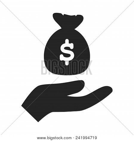 Sack Of Money On Hand Icon Simple Vector Sign And Modern Symbol. Sack Of Money On Hand Vector Icon I