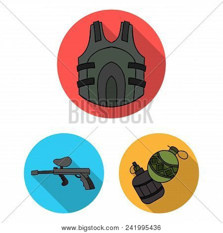 Paintball, Team Game Flat Icons In Set Collection For Design. Equipment And Outfit Vector Symbol Sto