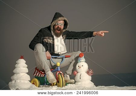 Happy New Year With Snowman. Snowmans Happy Couple. Snowmans Celebration. Excited Man Riding Tricycl
