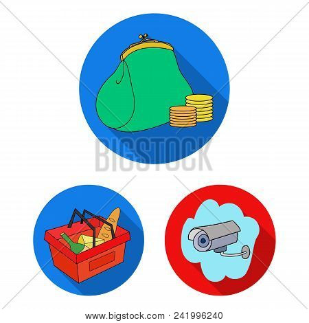 Supermarket And Equipment Flat Icons In Set Collection For Design. Purchase Of Products Vector Symbo