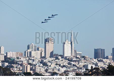 4 Plane Formation Over San Francisco During Fleet Week Airshow