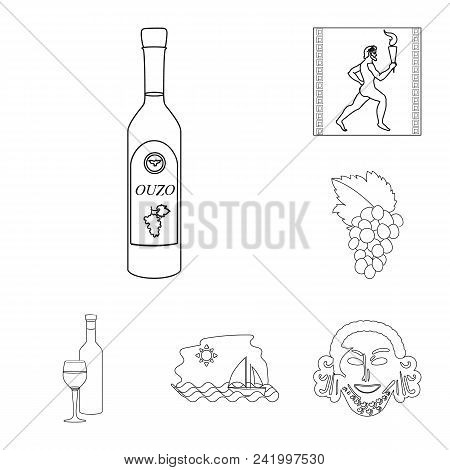 Country Greece Outline Icons In Set Collection For Design.greece And Landmark Vector Symbol Stock  I