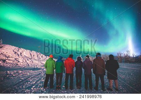 Beautiful Picture Of Massive Multicolored Green Vibrant Aurora Borealis, Also Known As Northern Ligh