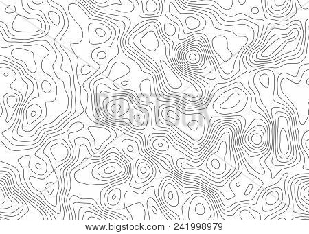 Topographic Map Backdrop. Conditional Geography Scheme And The Terrain Path. Contour Line Abstract B
