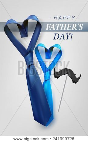 Fathers Day Gift Post Greeting Card Banner Poster With Relistic Satin Blue Necktie Knot. Male Tie De