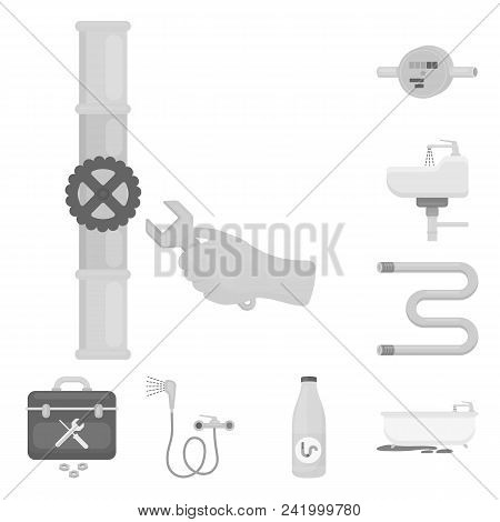 Plumbing, Fitting Monochrome Icons In Set Collection For Design. Equipment And Tools Vector Symbol S