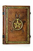 Vintage leather book with gilded ouroboros, pentagram and embossed five elements symbols on the ancient Egyptian. poster