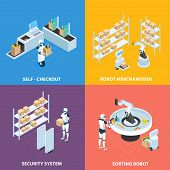 Automated shops isometric concept with self checkout, robots for merchandising and sorting, security system isolated vector illustration poster