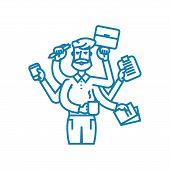 Huge workload line icon, vector illustration. Huge workload linear concept sign. poster