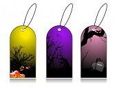 dry tree, pumpkin and gravestone concept set of halloween tag poster