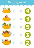 Counting Game for Preschool Children. Educational a mathematical game. Count the birds and choose the right answer. poster