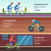 Banners set with horizontal illustrations of various cyclists. Sport bicycle, sportsman riding competition, hobby bicyclist vector poster