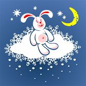 Cheerful rabbit and cloud on a background of the star sky. Digital illustration. poster