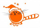 Stylized cat with christmas cap on a white background. Digital illustration. poster