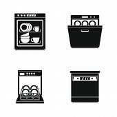 Dishwasher machine kitchen icons set. Simple illustration of 4 dishwasher machine kitchen vector icons for web poster