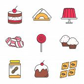 Confectionery color icons set. Tiramisu, jelly pudding, table napkins, marshmallow, lollipop, cupcakes, peanut butter, panna cotta, baklava. Isolated vector illustrations poster