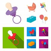 Stroller, windmill, lego, balloons.Toys set collection icons in cartoon, flat style vector symbol stock illustration . poster