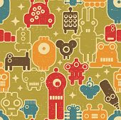 Robot and monsters modern seamless pattern in retro style on green background. poster