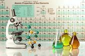 Test glass flasks and tubes with colored solutions on the periodic table of elements. Laboratory glassware. Science chemistry and research concept. 3d illustration poster