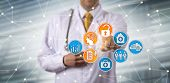 Unrecognizable male clinician securely accessing electronic health records via AI in a network. Health care sector IT concept for EHR, HIM, health information management, artificial intelligence. poster