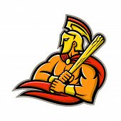 Mascot icon illustration of head of a Trojan or Spartan warrior wearing a helmet and holding a baseball bat viewed from side on isolated background in retro style. poster