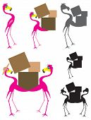 Flamingo Cartoon Moving holding boxes and moving poster